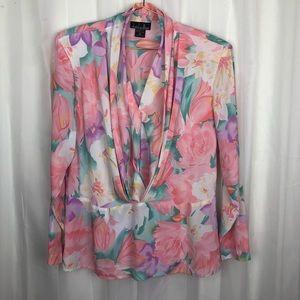 Vintage David Mathew pastel floral blouse